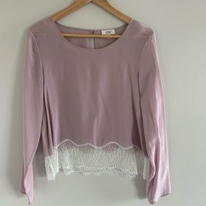 Wilfred Blush Silk Blouse with Lace Bottom